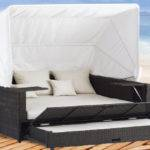 Collection All Weather Wicker Patio Furniture Day Bed Canopy