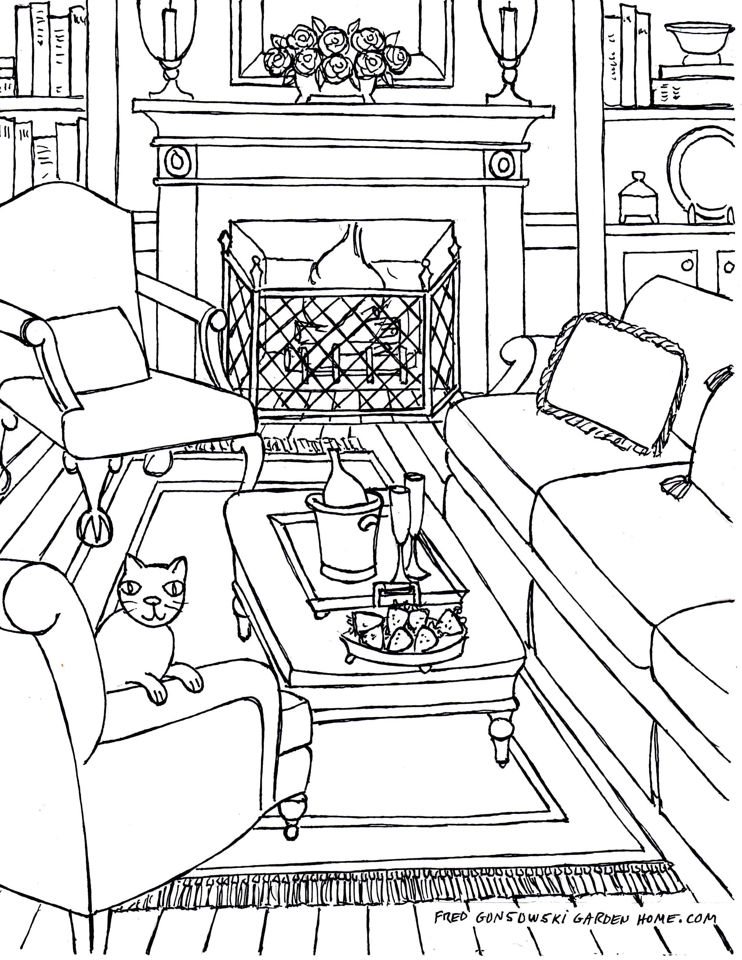 Coloring Pages Adults Some Drawings Living Rooms - Cute ...