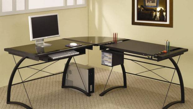 Compact Glass Computer Desk Cool Shaped