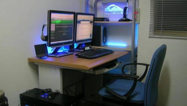 Computer Room Design Setup Wooden Desk Blue Lighting