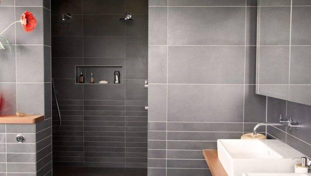 Contemporary Bathroom Design Grey Tile Color