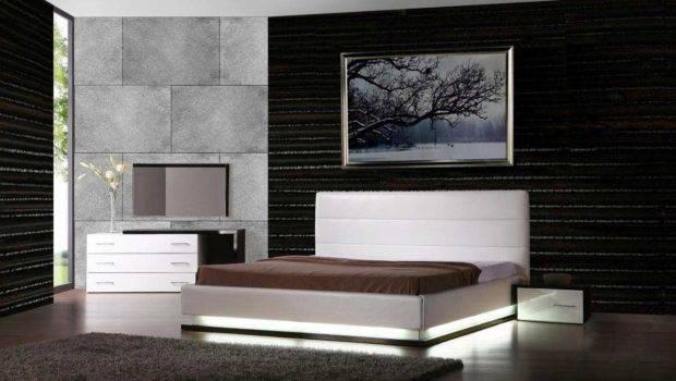 Contemporary Bedroom Lorezo Platform Bed Lights