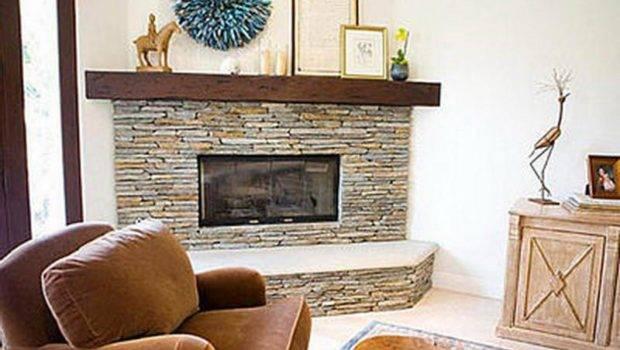 Contemporary Corner Stone Fireplaces Designs Ideas