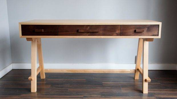 Contemporary Desk Maple Walnut