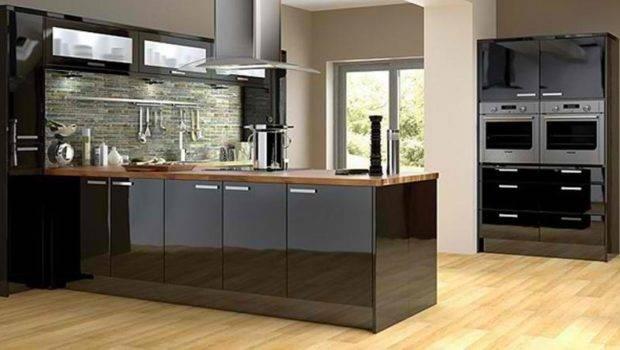 Contemporary Kitchen Black Cabinets Rilane