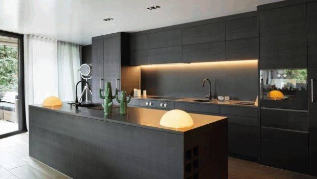Contemporary Matte Black Kitchen Cabinet Smooth Rock