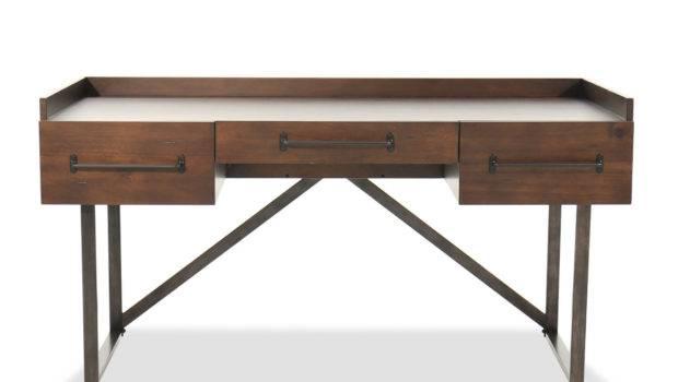 Contemporary Three Drawer Desk Walnut Mathis