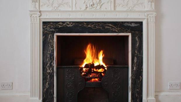 Cool Fireplace Design Black Frame Together White