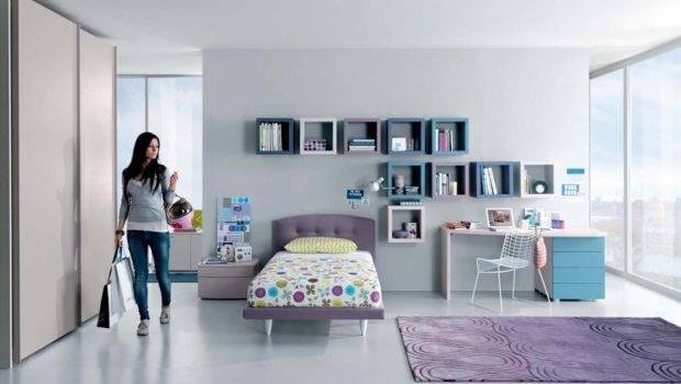 Cool Teenage Girl Bedroom Designs Wall Shelves