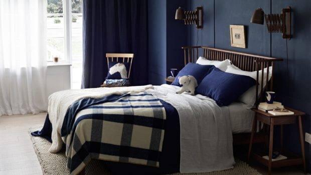 Country Bedroom Navy Blue Walls Room