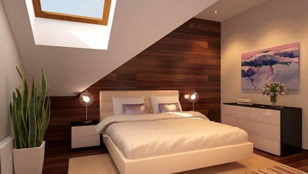 Cozy Minimalist Bedroom Attic Skylight