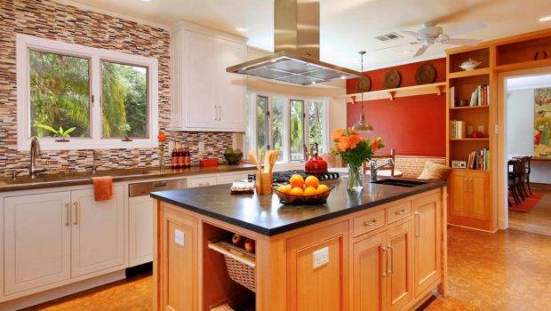 Craftsman Kitchen Large Island Red Accent Wall
