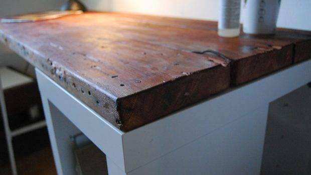 Create Reclaimed Wood Desk Ikea Basis