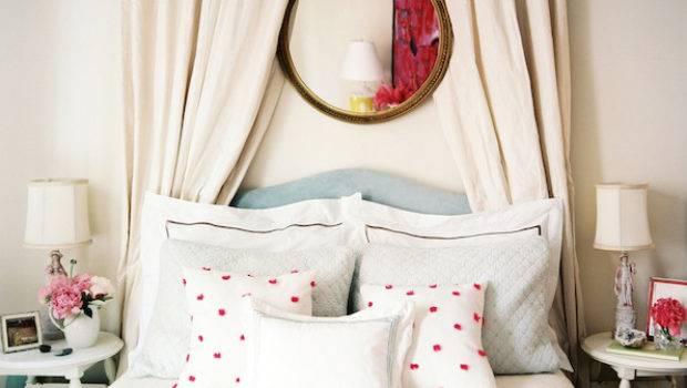 Curtains Behind Headboard Transitional Bedroom Lonny
