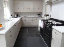 Dark Floor Tiles Small White Kitchen Home Interior Design