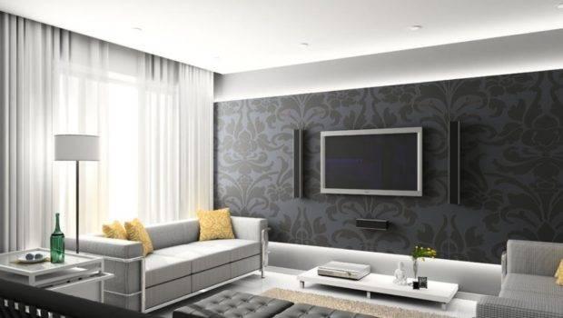 Dark Gray Wall Design Living Room