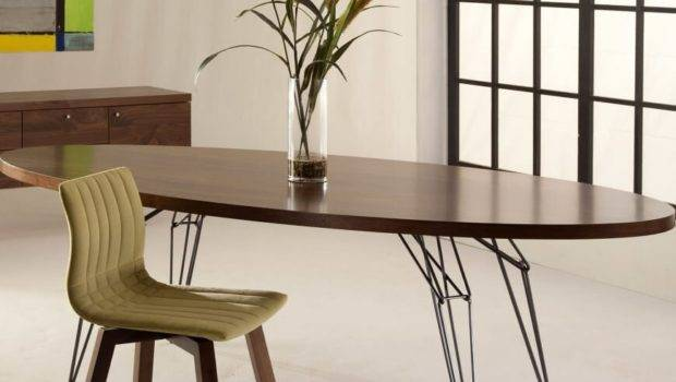 Dark Wood Modern Dining Room Set Oval Table
