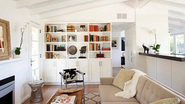 Decorating Ideas Beige Couch Stylish White Wooden Bookshelves