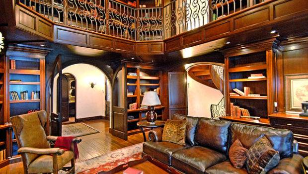 Decorating Luxury Custom Home Library Design Leather