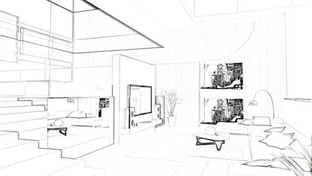 Design Modern Home Living Room Drawing Sketch Idea