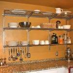 Designs Ideas Good Stainless Steel Wall Mounted Kitchen Shelves