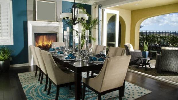 Dining Area Open Living Space Blue Beige Color Scheme Set