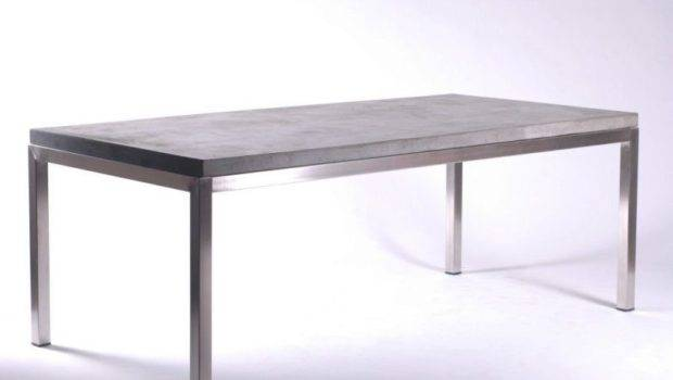 Dining Table Desk Solid Concrete Slab Top Stainless Steel Legs Ebay