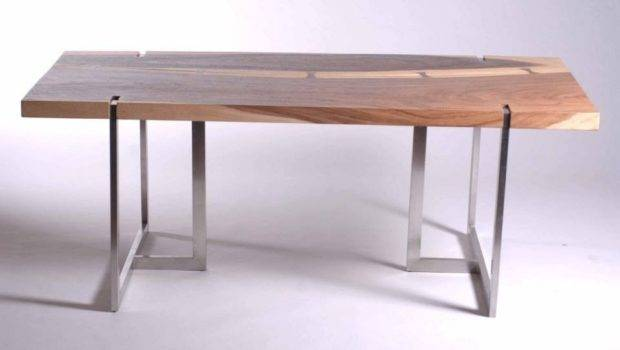 Dining Table Solid Chamcha Wood Stainless Steel Tri Legs Inset Top