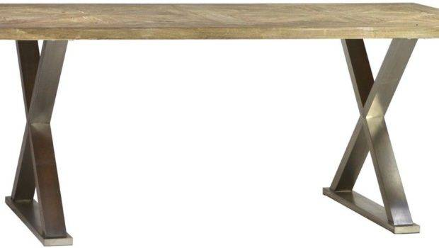 Dining Table Solid Elm Smooth Wood Stainless Steel Cross Legs Rustic