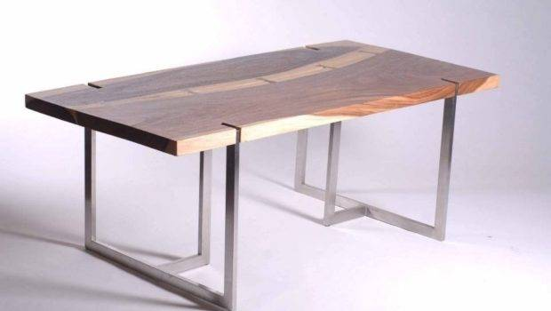 Dining Table Stainless Steel Tri Legs Solid Chamcha Wood Inset Top