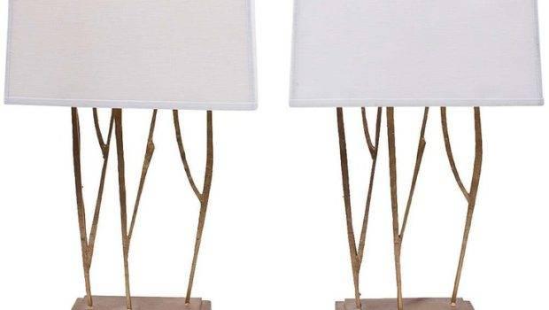 Domicile Interior Design Gold Twig Lamps Pair