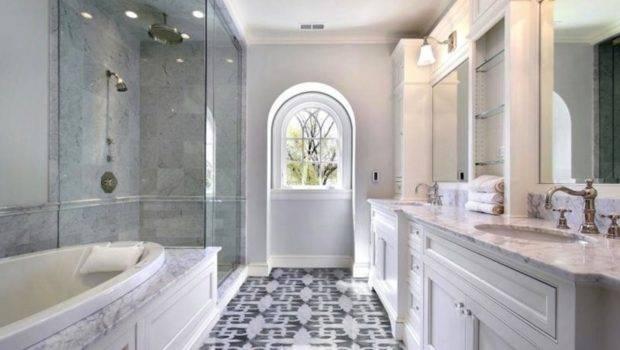 Double Bathroom Vanity Marble Countertop Mosaic Tiles Floor