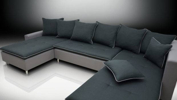 Double Chaise Corner Sofa Bed Greg Black Grey