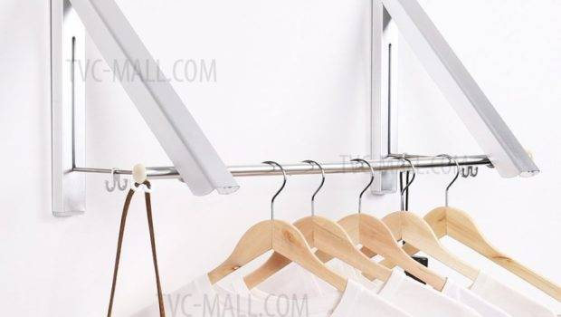 Double Retractable Folding Clothes Hanger Racks Portable