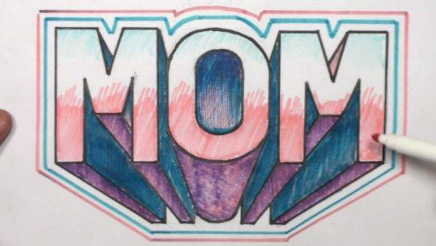 Draw Block Letters Mom One Point Perspective Mat
