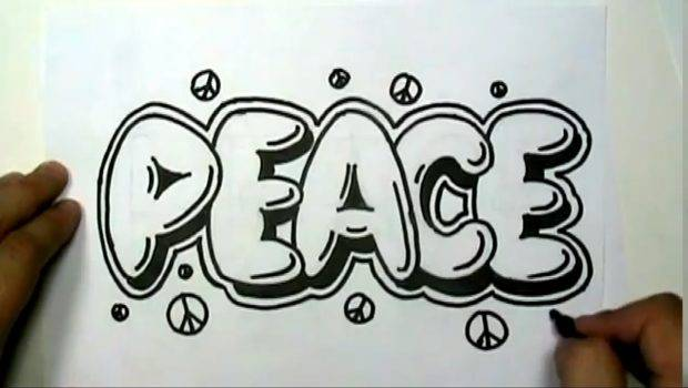 Draw Peace Graffiti Letters Write Bubble