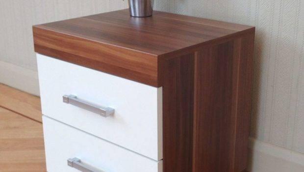 Drawer White Walnut Bedside Cabinet Table Bedroom