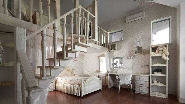 Dreamy Floral White Bedroom Mezzanine Homework Space