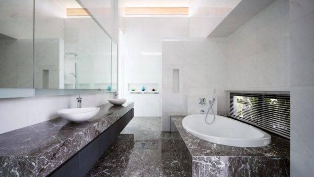 Dwelling Modern Bathroom Black Marble Floor Wide Mirror White Wall