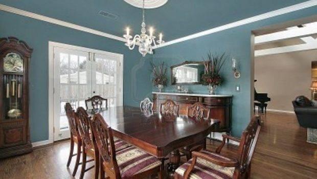 Elegant Dining Room Slate Blue Walls Brown Wooden