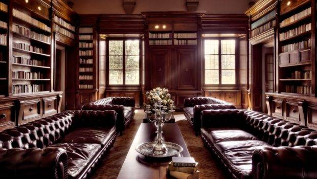 Elegant Leather Furniture Luxury Home Library Old