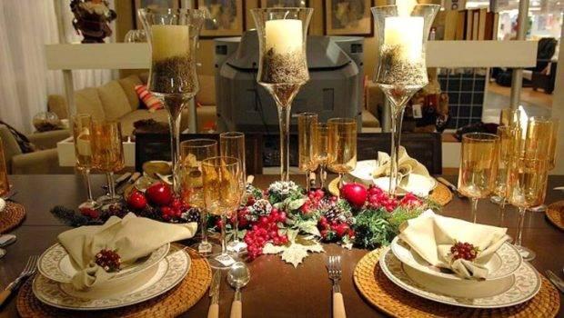 Elegant Table Setting Ideas Christmas Dinner High Glass