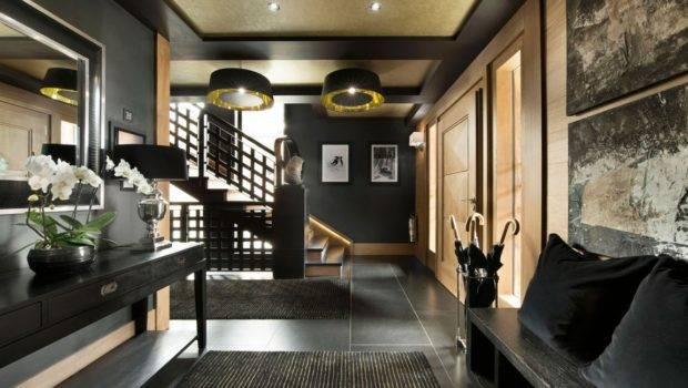 Entrance Hallway Part Inspiring Modern Chalet Interior