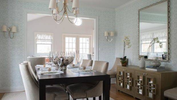 Espresso Dining Table Beige Nailhead Chairs