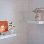 Espresso Wooden Floating Shelf Decorating White Wall