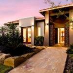 Exterior French Doors Landscaped Garden House Facade