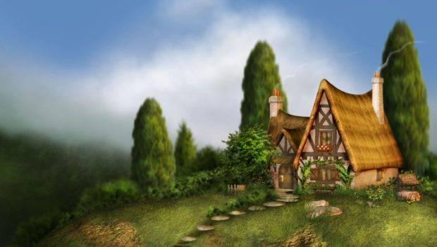 Fantasy House Art Green Sky Tree