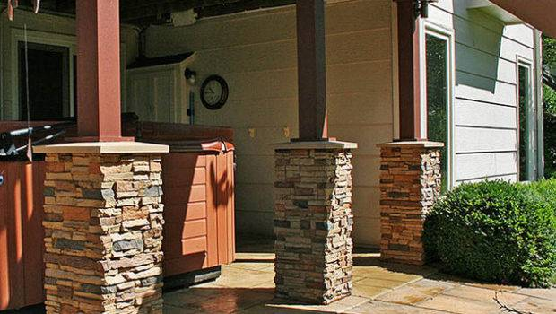 Faux Stone Columns Contemporary Garage Shed San