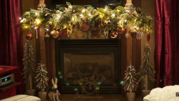 Fireplace Beautifull Glass Ornaments Lights Decorations