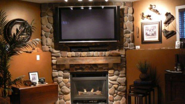 Fireplace Charming Stone Design Ideas Lcd Indoor Plant